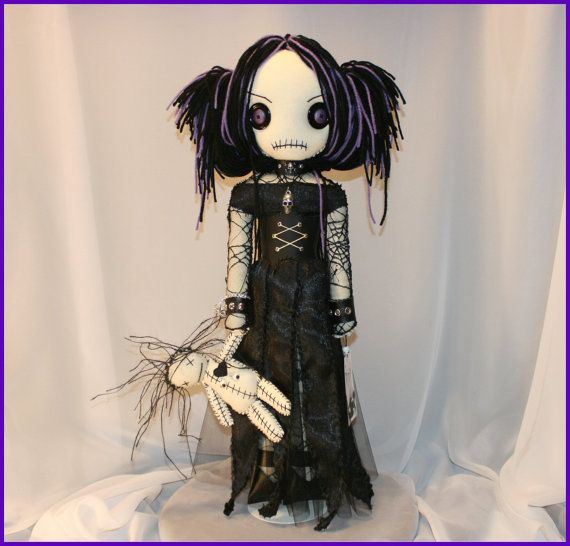 OOAK Hand Stitched Rag Doll With Voodoo Dolly Creepy Gothic Folk Art by Jodi Cain via Etsy. awsome dolls!