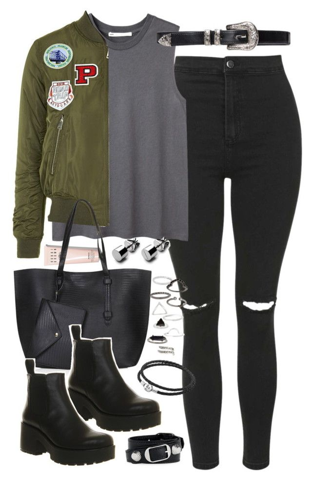 """Outfit for uni with a bomber jacket"" by ferned on Polyvore featuring Topshop, Hope, Bobbi Brown Cosmetics, Vagabond, Balenciaga and Pandora"