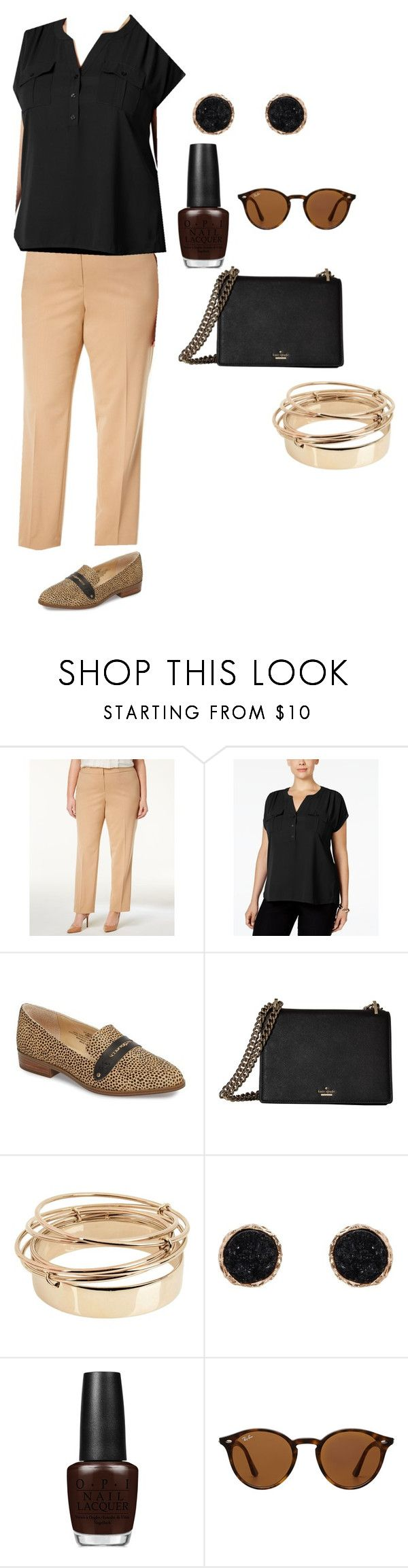 """Neutral Office"" by ambernaubry on Polyvore featuring Nine West, INC International Concepts, Sole Society, Kate Spade, Valentino, Humble Chic, OPI, Ray-Ban and plus size clothing"