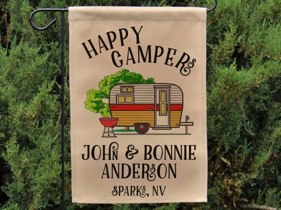 Ready to Ship, Happy Campers Personalized Garden Flag, Campsite Flag, RV Gift, RV Decor, Retro Camper, Camp Sign, Stand not included WYF-027
