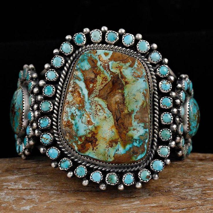 MIKE PLATERO Navajo Natural Turquoise Vintage CLUSTER Bracelet Sterling Silver