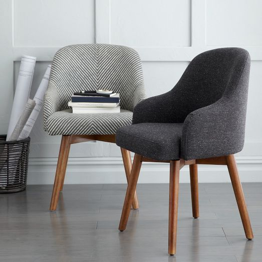 West Elm Saddle Office Chair Painted Stripe Gray Ivory