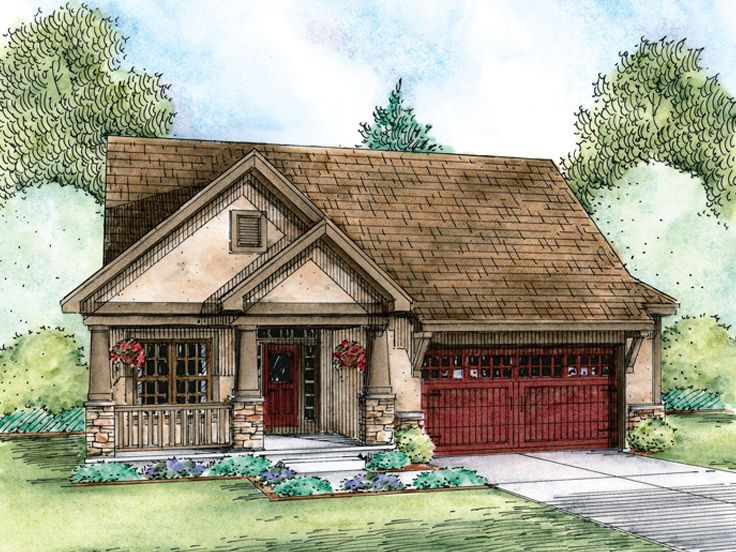 031h 0420 Empty Nester House Plan Fits A Narrow Lot 1596 Sf Ranch Style House Plans Craftsman House Floor Plan Design