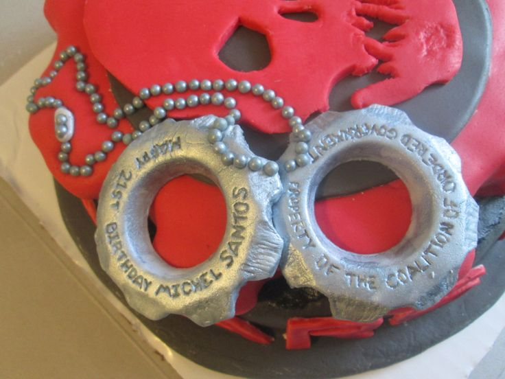 COG Tags on Gears of War Cake, created by Dusty's Cakes & Cupcakes. Available for work in the New England area. dustysantos3d@yahoo.com