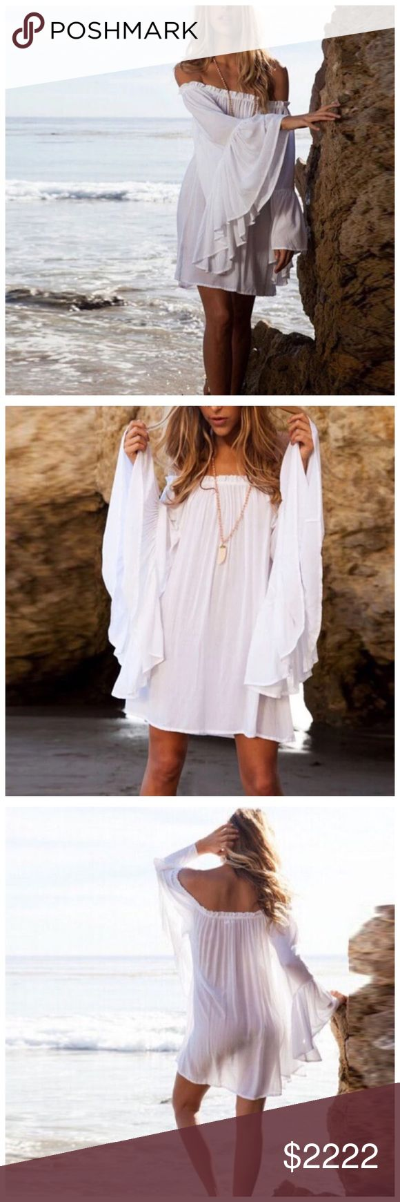 "🆕 White Boho Off The Shoulder Dress ‼️ PRICE FIRM UNLESS BUNDLED WITH OTHER ITEMS FROM MY CLOSET ‼️   Off The Shoulder Dress  Retail $49  Absolutely perfect for the beach! Get that boho chic look! 100% cotton.   SMALL Bust 39"" Length 28""   MEDIUM Bust 41"" Length 28""  LARGE Bust 43"" Length 29"" Dresses"