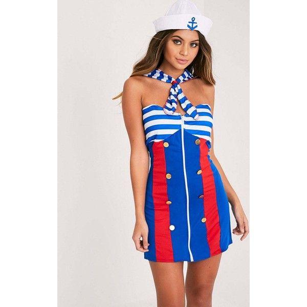 Sailor Girl Fancy Dress Costume (£25) ❤ liked on Polyvore featuring costumes, blue, fancy costumes, sailor halloween costume, sailor costume, fancy halloween costumes and blue costumes