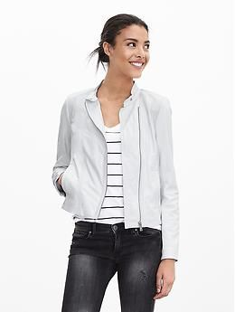 black air max 90 Perforated White Leather Moto Jacket   Banana Republic