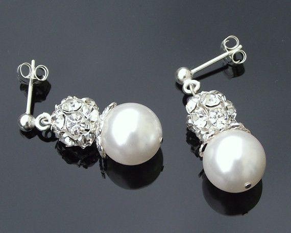 Beautiful Pearl & Crystal Encrusted Drop Earrings, Joy | The Wedding Hair Accessory and Bridal Jewellery Experts.