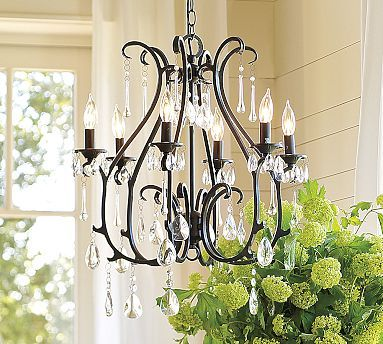 Celeste Chandelier #potterybarn; Tim -I'm even down for mini shades... Either way totally digging this