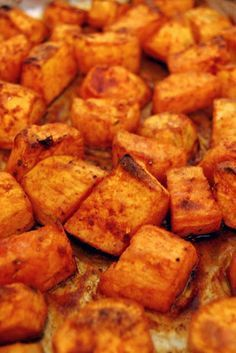 Recipe For Roasted Sweet Potatoes with Honey and Cinnamon - These are so delicious you forget that they are really good for you and that this preparation is actually lower in fat than all the other ways I can fix them!
