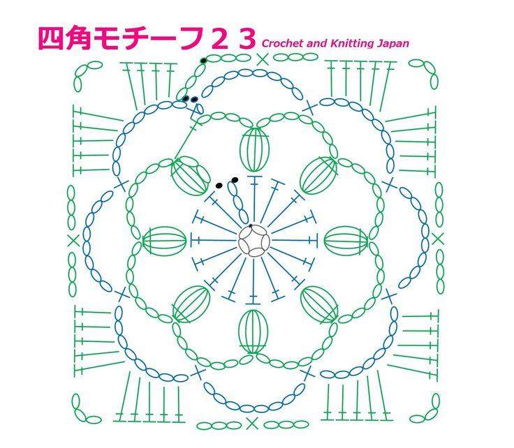 四角モチーフ23【かぎ針編み】How to Crochet Square Motif  https://youtu.be/x_tLkSlDF8o 鎖編み、細編み、長編みと、長編み5目の玉編みで作る四角モチーフです。 字幕と編み図で解説しています。 ★編み図は、こちらをご覧ください。