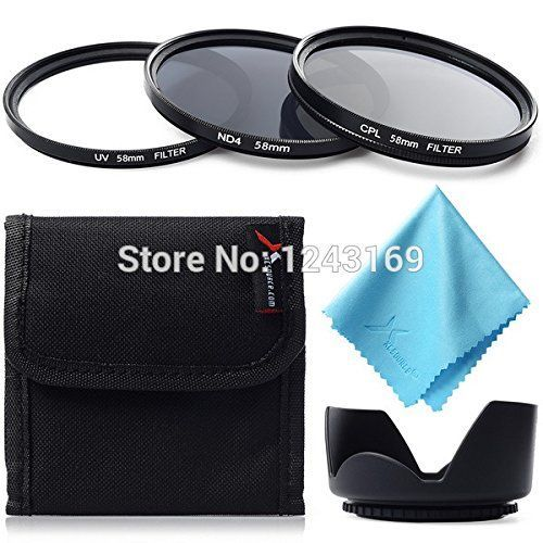 BuyerKit(TM) 3pcs Filter Kit UV CPL ND4   Lens Hood 58mm for Canon 300D 30D 20D 10D LF282-SZ -- To view further for this item, visit the image link.