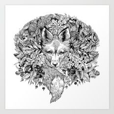 hidden fox Art Print