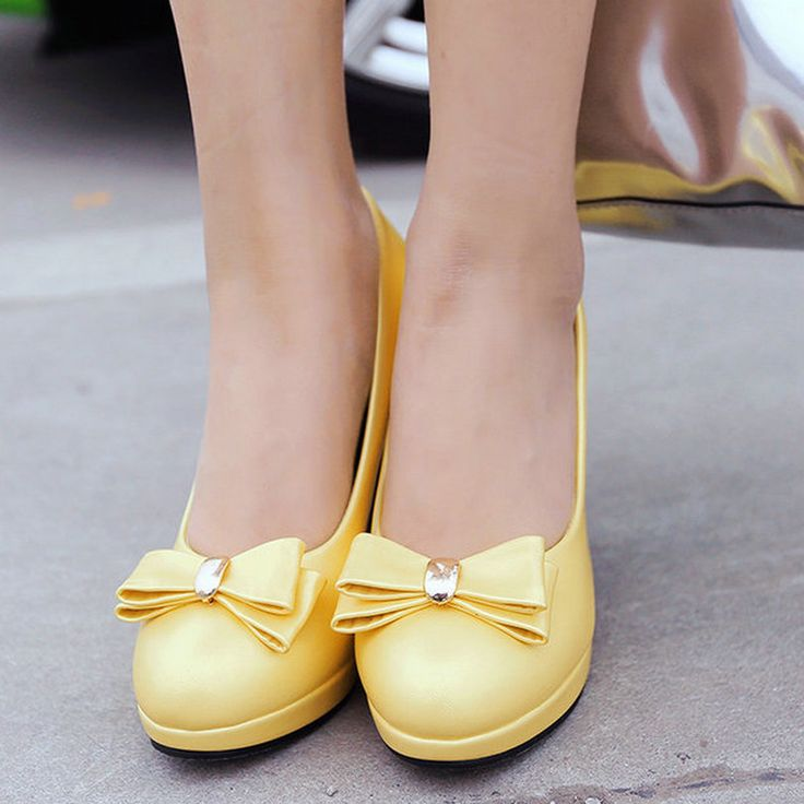 Yellow Summer Woman Shoes Thin High Heel Platform PU leather Bow Tie Women Pump Ankle Strap Ladies Wedding Shoes Size 34-43 //Price: $US $26.39 & FREE Shipping //     #woman