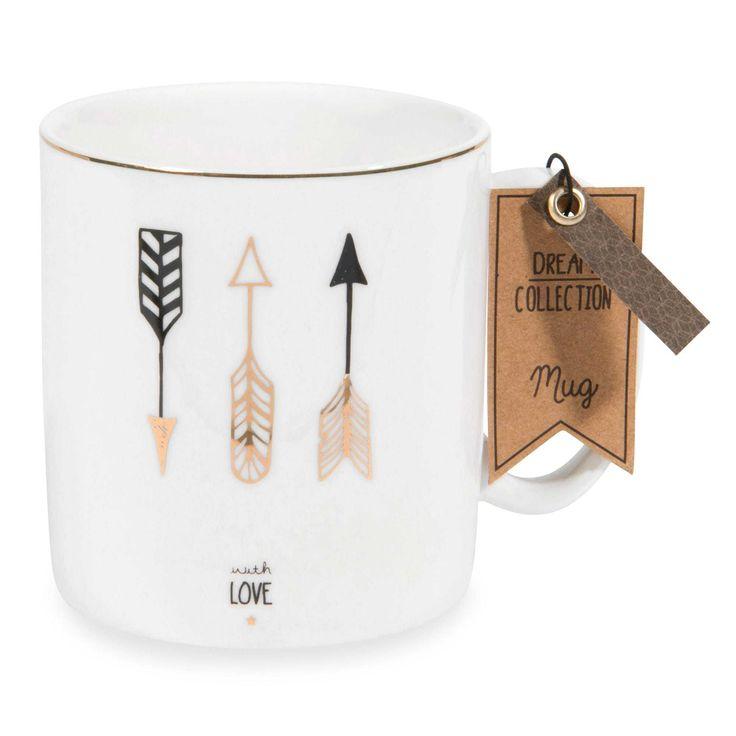 Mug motif flèche en porcelaine PAN   - Vendu par 2