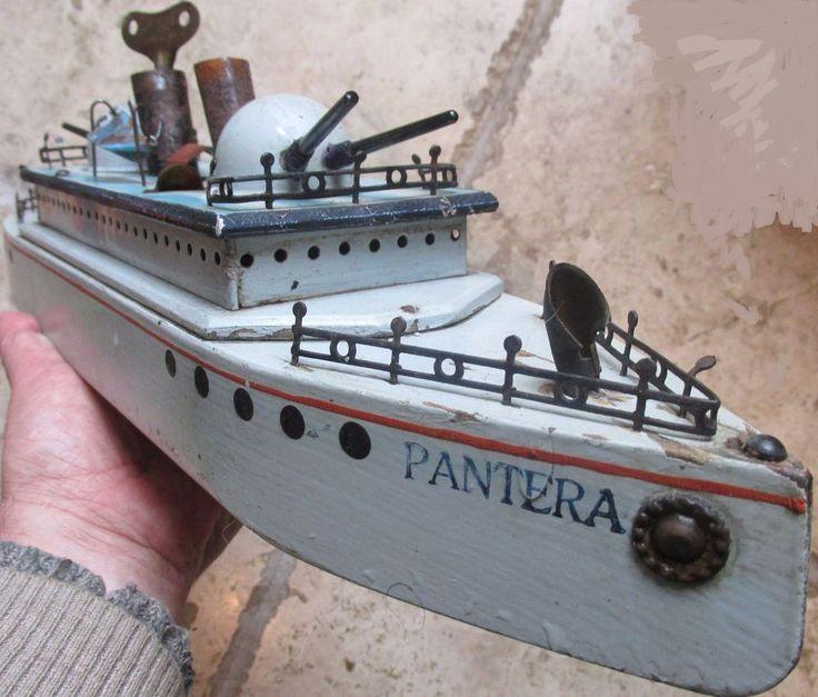 VIDEO 1919 Costanzo Italy clockwork boat battleship PANTERA SMS Panther bing ZAX