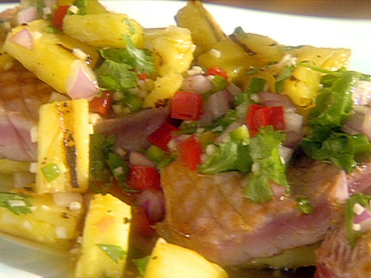 Grilled Yellow Fin Tuna with Grilled Pineapple Salsa Recipe : Food Network - FoodNetwork.com