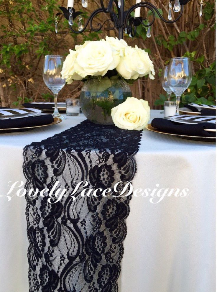 "Black Lace Table Runner, 21ft to 28ft  long x 7"" wide/Nautical, Rustic Decor/Black Wedding Decor/ weddings/etsy finds/ENDS NOT SEWN by LovelyLaceDesigns on Etsy"