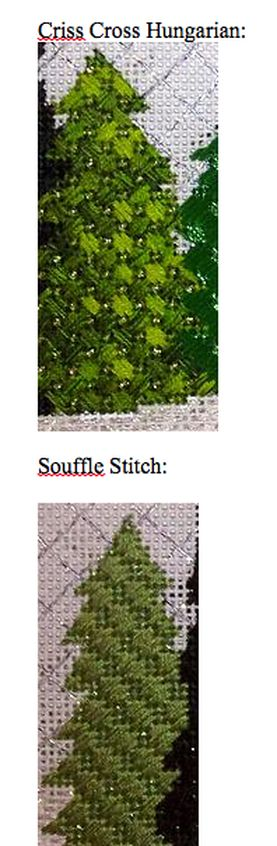Needlepoint stitches for trees