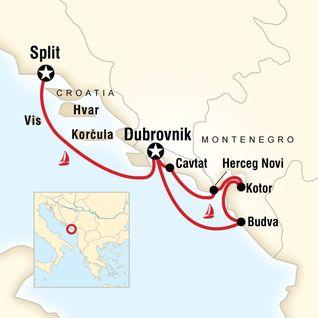 Map of Montenegro & Croatia Sailing