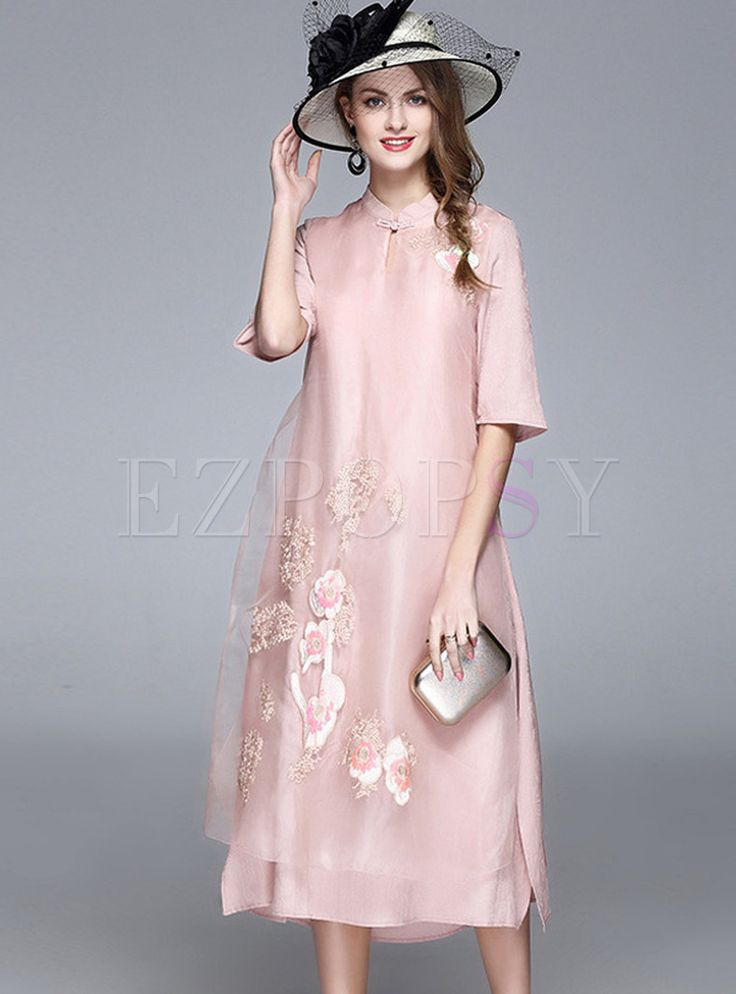 Shop for high quality Ethnic Stand Collar Half Sleeve Shift Dress online at cheap prices and discover fashion at Ezpopsy.com