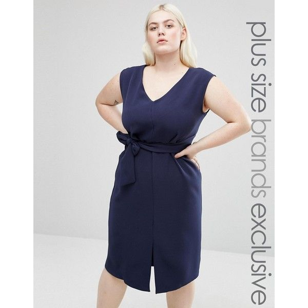Closet Plus Sleeveless Tie Waist Swing Dress ($33) ❤ liked on Polyvore featuring plus size women's fashion, plus size clothing, plus size dresses, navy, navy blue dress, plus size fit and flare dress, navy plus size dress, plus size bodycon dresses and tie waist dress