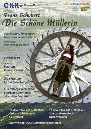 Die schöne Müllerin, Franz Schubert.  Als leider van koorklas Culemborg liep Hein Franssen al een tijdje met de gedachte rond om de kinderen kennis te laten maken met Schubert's prachtige muziek. Als broer van Olga kende hij natuurlijk onze uitvoering van die schöne Müllerin met Maarten Koningsberger en twee gitaren.  Nu heeft hij bij vrijwel de hele cyclus een koorpartij geschreven. Zo is er een bijzondere, nieuwe versie ontstaan voor solist, gitaren, kamer- en kinderkoor.