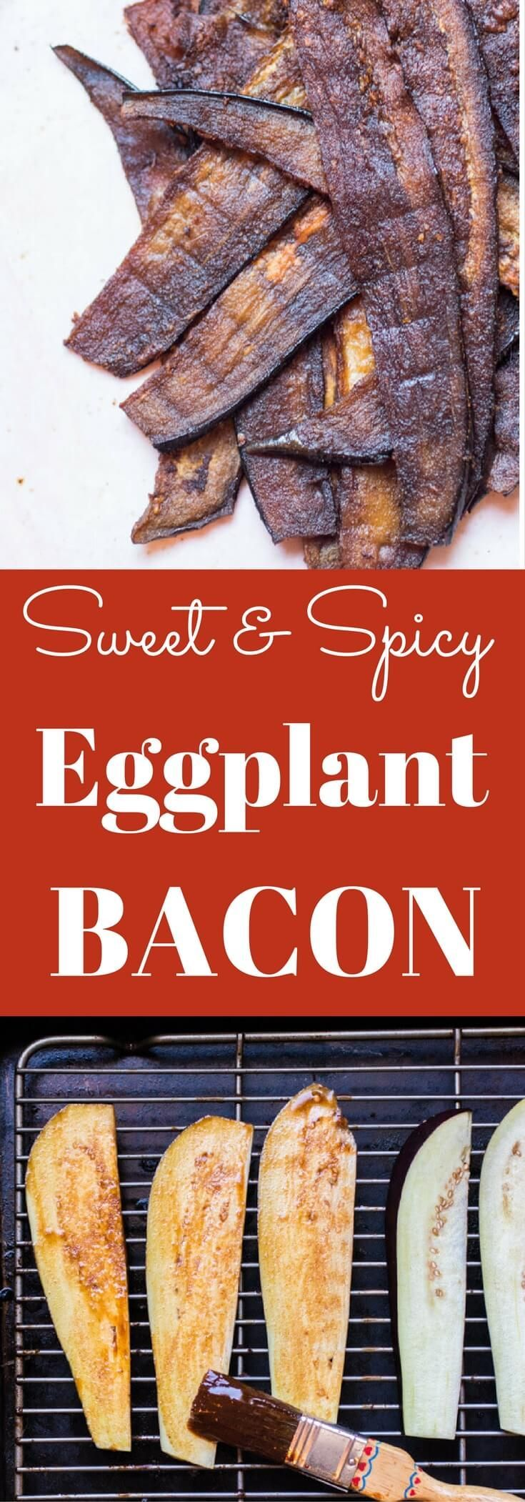 Sweet and salty crisp vegan bacon made with eggplant. A plant-based alternative to bacon, no liquid smoke needed   abraskitchen.com #Monksweet #SweetandEasy #Steviva #ad