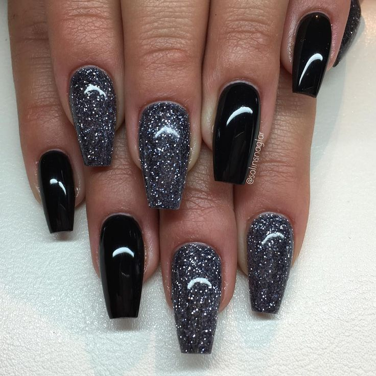 Black Glitter Acrylic Nails 25+ best ideas about B...