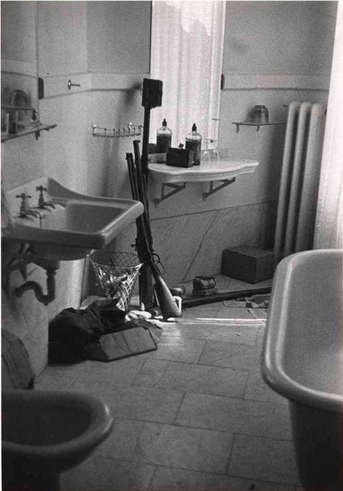 """David """"Chim"""" Seymour     Guns in a Bathroom, Spain, During the Civil War c.1936"""