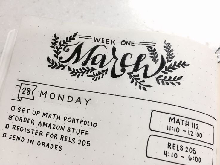 """chic-studies: """"My weekly spread for my bullet journal! It's the first week of the spring quarter, so I'm going to go by what week of the quarter it is. Also, ignore the wrinkly pages as water got on..."""