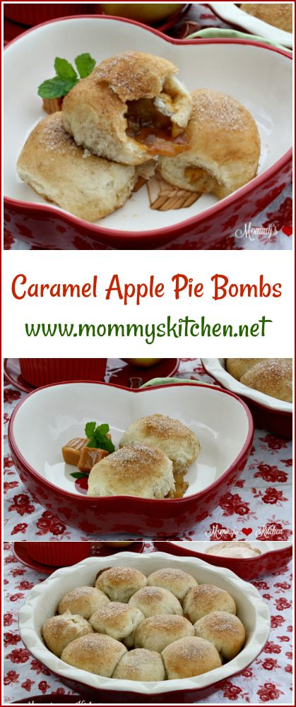 Mommy's Kitchen - Recipes From my Texas Kitchen: Pull Apart Caramel Apple Pie Bombs.These easy pull apart Caramel Apple Pie Bombs start with Rhodes Frozen Dough that's stuffed with brown sugar, cinnamon, apples and caramel candies. #caramelapples #caramelapplepierolls #caramelbombs #applepiebombs #apples #frozendough #rhodesbread @Rhodesbread  #mommyskitchen