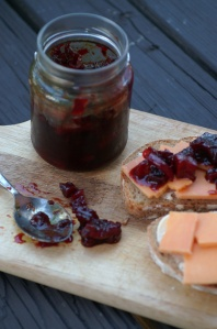 curried beetroot chutney.