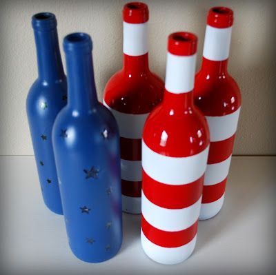 Stars and Stripes wine bottles cute for decorating the fireplace mantle