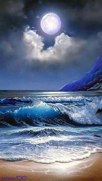 Diamond bright moon over the sea