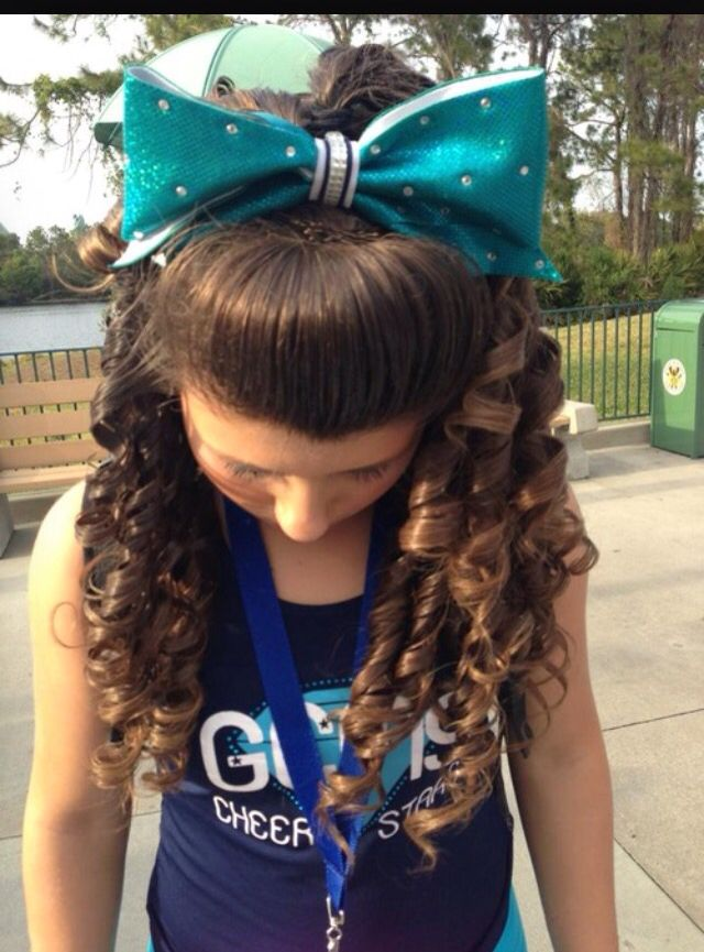 Sea Blue Bow With Beautifully Curled Hair For Cheerleading