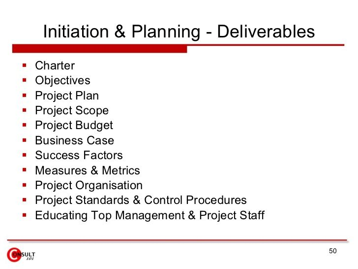 initiation planning deliverables charter objectives