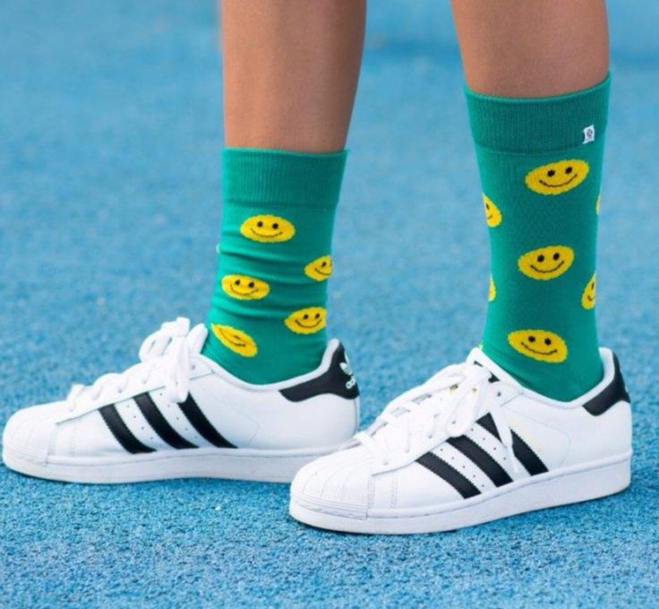 Smiley socks with adidas superstar