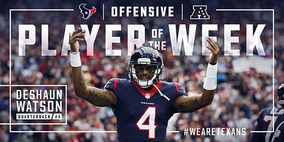 The NFL named Houston Texans QB Deshaun Watson the AFC Offensive Player of the Week.