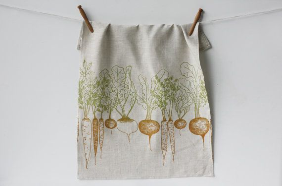 Jenna Rose Linen Tea Towel >>  Love this. Two colors: very effective. Simple, bottom weighted repeat pattern.