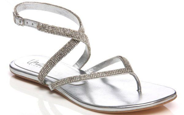 flat silver prom sandals