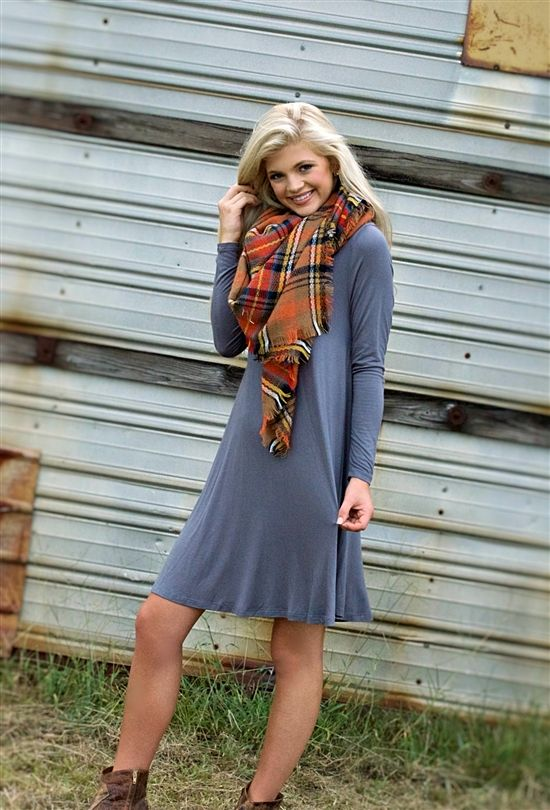 Getting Over You Tunic Dress- Slate $34.99! #southernfriedchics #fallfashion #blanketscarf
