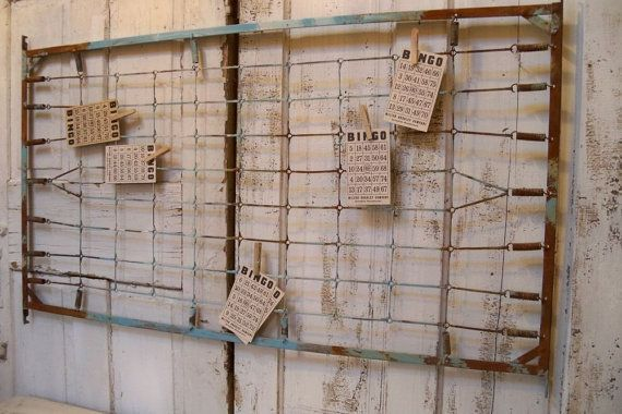 Vintage crib spring message board industrial by AnitaSperoDesign, $165.00