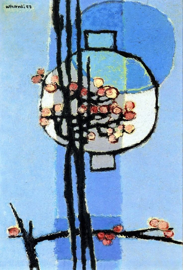 (Korea) Jar and Plum Blossom1957 by Whanki Kim. Oil on canvas. Whanki Museum, Korea