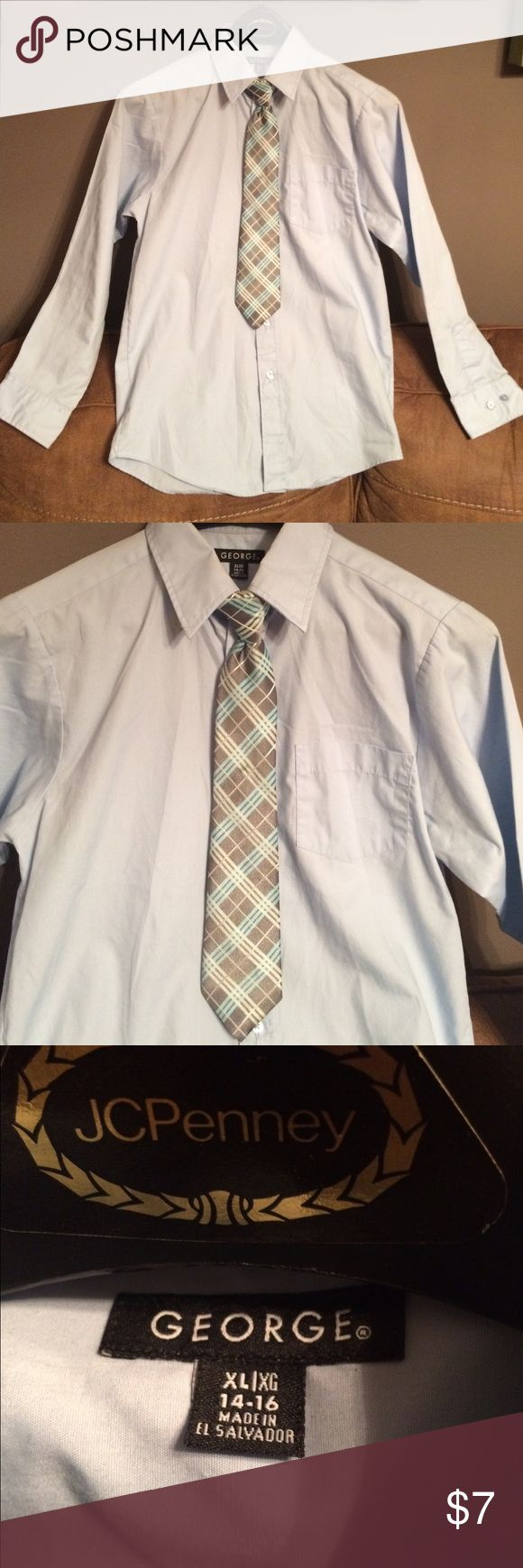 Boys George dress shirt This shirt is in great used condition! Pale blue in color. Has all buttons and an extra button. Tie not included but listed separately. George Shirts & Tops Button Down Shirts