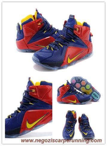 Uomo Nike Lebron 12 EP Deep Blu/Rosso/Giallo 684593-611 palloni calcio