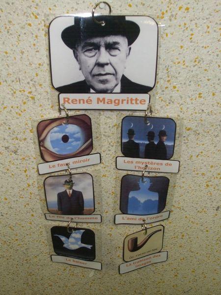 Voici mon premier mobile d'arts visuels consacré à René Magritte et réalisé à coups d'impressions couleurs, de pochettes à plastifier et d'anneaux métalliques à charnières ! Au verso du mobile, mes élèves collent un cœur sur leur tableau préféré ^____^
