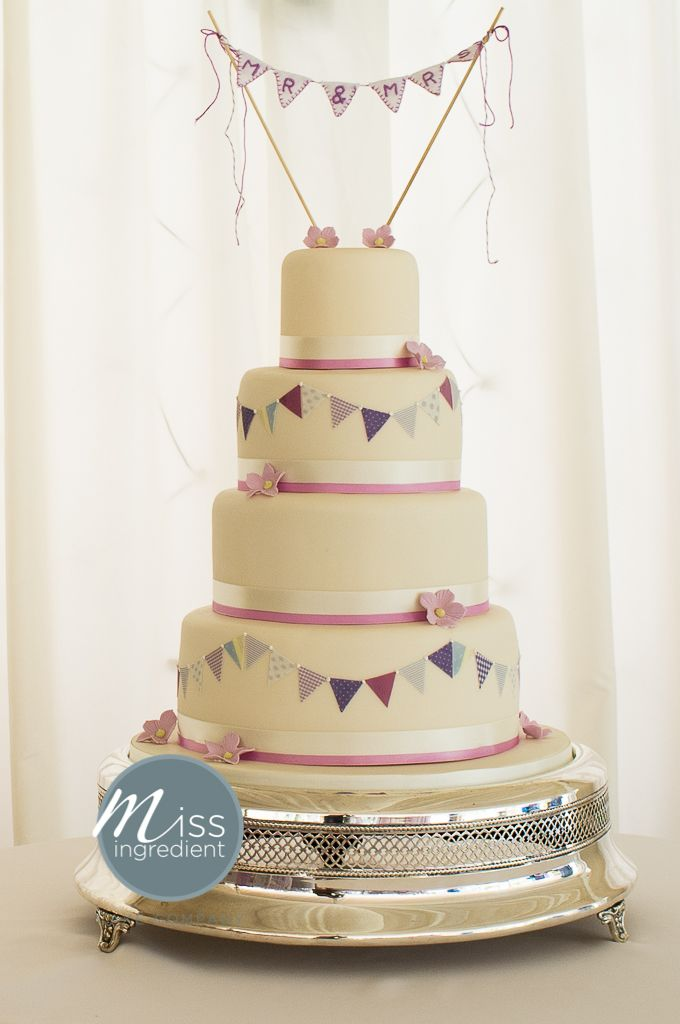 Wedding Cake With Bunting By Miss Ing And Handmade Topper Vintage Magpie