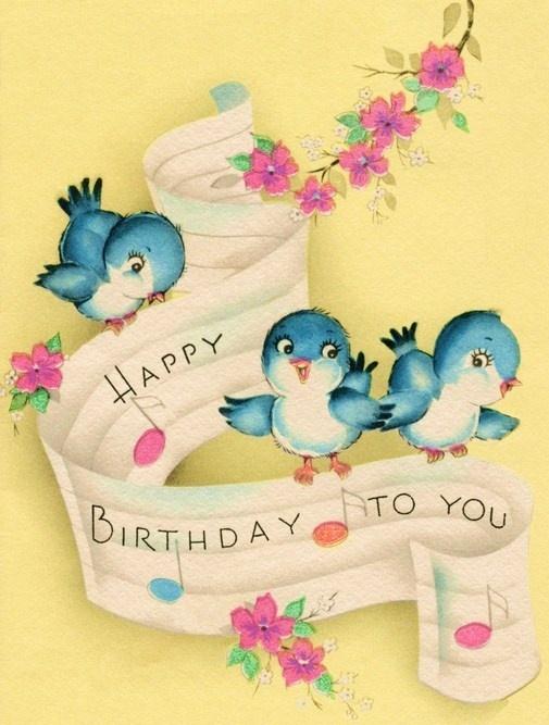 VINTAGE BIRTHDAY CARD - Birthday bluebirds