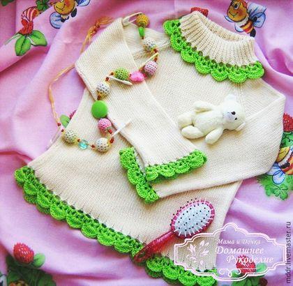 Одежда для девочек, ручной работы. Ярмарка Мастеров - ручная работа. Купить Бамбук кофточка детская  (бамбуковая пряжа). Handmade. Бежевый